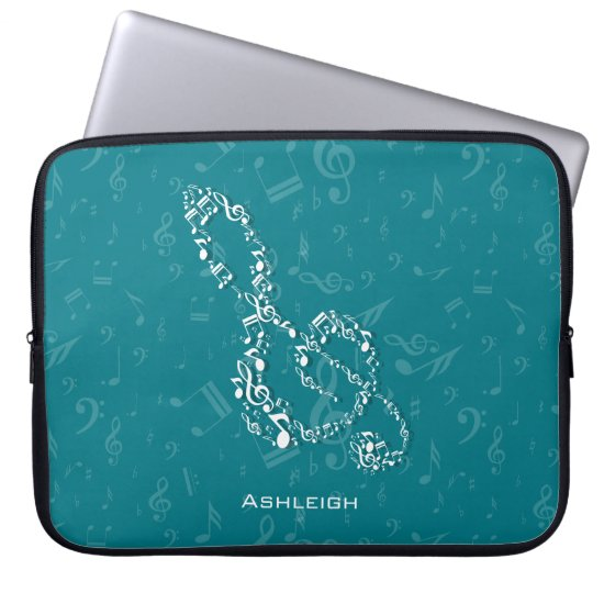 Teal and White Treble Clef Music Notes Computer Sleeve