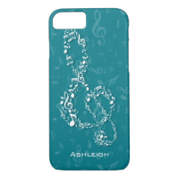 Teal and White Treble Clef Music Notes iPhone 7 Case