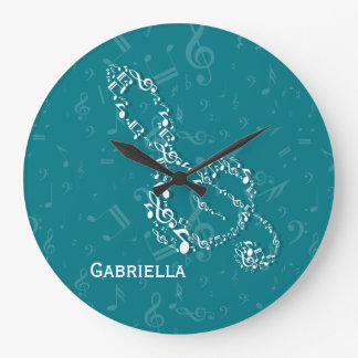 Teal and White Treble Clef Music Notes Large Clock