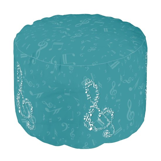 Teal and White Treble Clef Music Notes Pouf