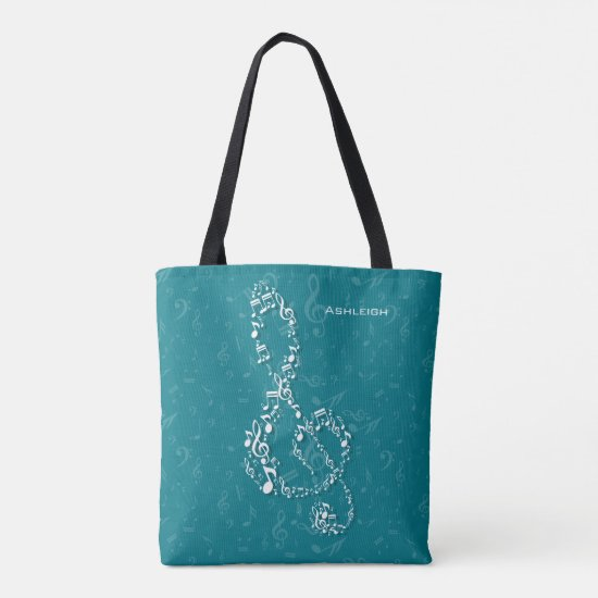 Teal and White Treble Clef Music Notes Tote Bag