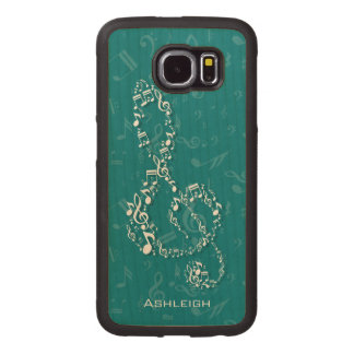 Teal and White Treble Clef Music Notes Wood Phone Case