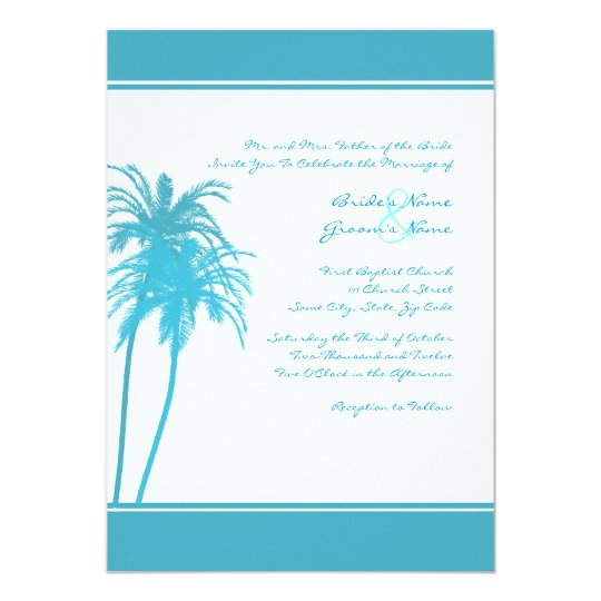 Teal and White Tropical Palms Invitation