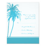 Teal and White Tropical Palms Invitation RSVP