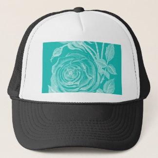 Teal and white trucker hat