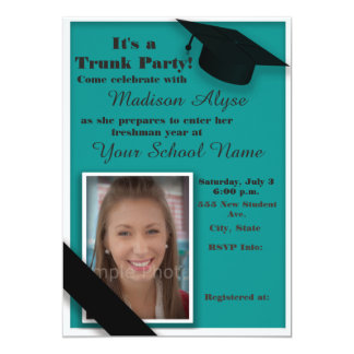 Teal and White Trunk College Party Photo Card