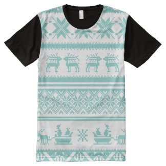 Teal and White Ugly Christmas Sweater patterns All-Over-Print Shirt