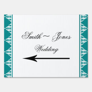 Teal and White Wedding Direction Sign
