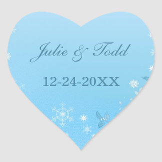 Teal and White Winter Save The Date Wedding Heart Sticker