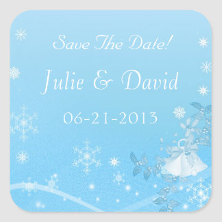 Teal and White Winter Save The Date Wedding Square Sticker
