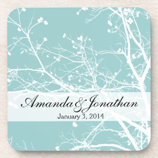 Teal and White Winter Tree Coasters