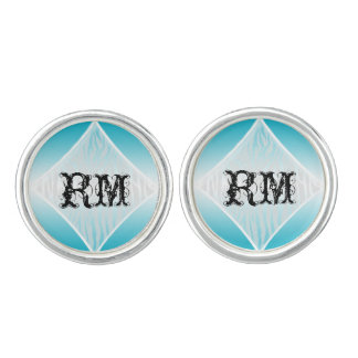 Teal and White Zebra Diamond Wedding Cuff Links