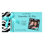 Teal And White Zebra Gems Save The Date Card Photo Greeting Card