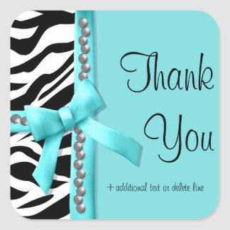Teal And White Zebra Striped With Silver Gems Square Sticker