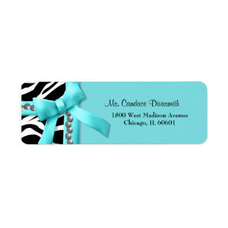 Teal And White Zebra Striped With Silver Pearls Custom Return Address Label