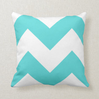 Teal and White Zig Zag Pillow