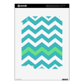 Teal and White Zigzag With Light Green Border iPad 3 Decal