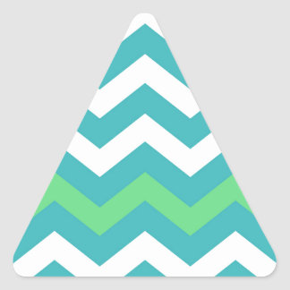 Teal and White Zigzag With Light Green Border Triangle Sticker