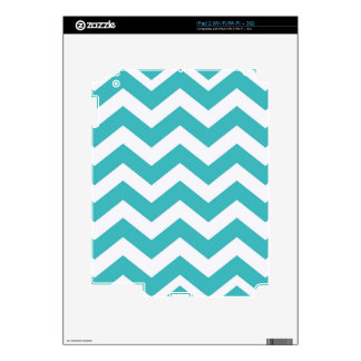 Teal and White Zigzags iPad 2 Decals