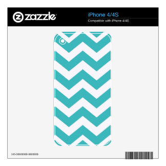 Teal and White Zigzags iPhone 4 Skin