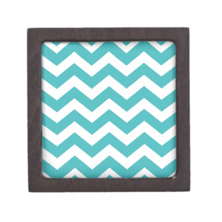 Teal and White Zigzags Keepsake Box