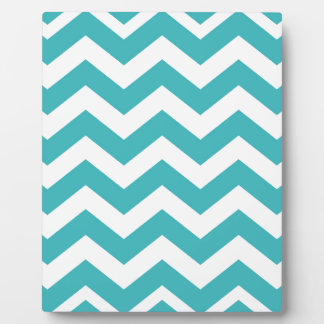 Teal and White Zigzags Plaque