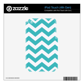 Teal and White Zigzags Skins For iPod Touch 4G