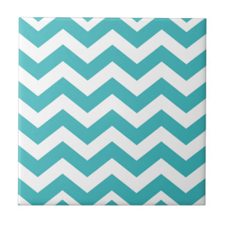 Teal and White Zigzags Tile