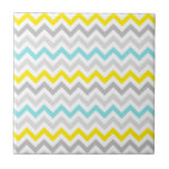 Teal and Yellow Beach Look Chevron ZigZag Tile