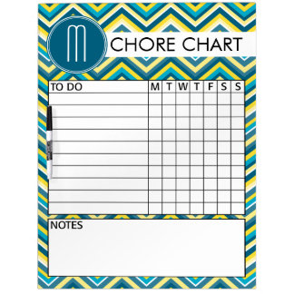 Teal and Yellow Chevron Pattern Chore Chart Dry-Erase Board