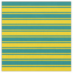 [ Thumbnail: Teal and Yellow Colored Lines/Stripes Pattern Fabric ]