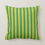 [ Thumbnail: Teal and Yellow Colored Lines/Stripes Pattern Throw Pillow ]