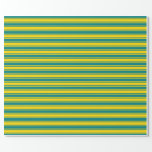 [ Thumbnail: Teal and Yellow Colored Lines/Stripes Pattern Wrapping Paper ]