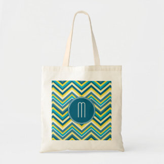 Teal and Yellow Colorful Chevron Pattern Monogram Budget Tote Bag