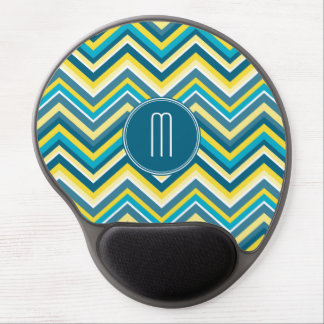 Teal and Yellow Colorful Chevron Pattern Monogram Gel Mouse Pad