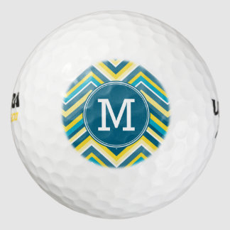 Teal and Yellow Colorful Chevron Pattern Monogram Pack Of Golf Balls
