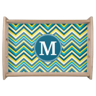 Teal and Yellow Colorful Chevron Pattern Monogram Serving Platters