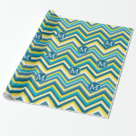 Teal and Yellow Colorful Chevron Pattern Monogram Gift Wrap