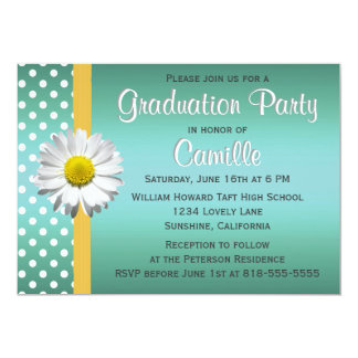 Teal and Yellow Daisy Graduation Party Card