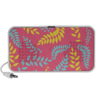 Teal and Yellow Ferns on Pink Pattern Travel Speaker