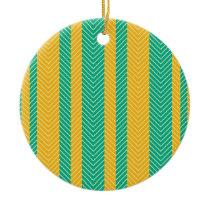 Teal and Yellow Herringbone Pattern Ceramic Ornament