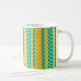 Teal and Yellow Herringbone Pattern Coffee Mug