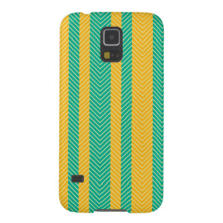 Teal and Yellow Herringbone Pattern Galaxy S5 Cover