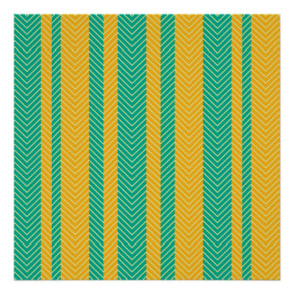Teal and Yellow Herringbone Pattern Poster