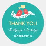 Teal and Yellow Lovebirds Wedding Favor Sticker