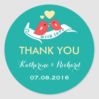 Teal and Yellow Lovebirds Wedding Favor Sticker