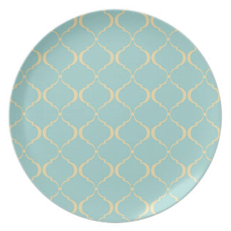Teal and Yellow Moroccan Pattern Dinner Plate