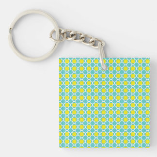 Teal and Yellow Trellis Design Square Acrylic Keychains