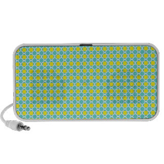 Teal and Yellow Trellis Design Mp3 Speakers