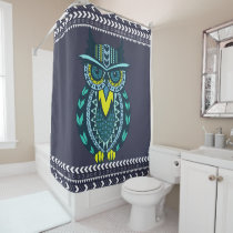 Teal and Yellow Tribal Patterned Owl Shower Curtain